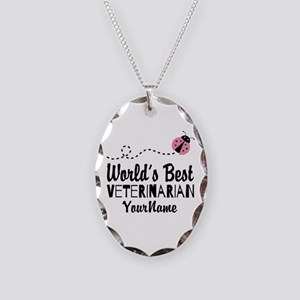 World's Best Veterinarian Necklace Oval Charm