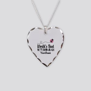 World's Best Veterinarian Necklace Heart Charm