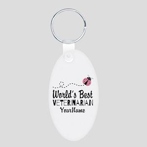 World's Best Veterinarian Aluminum Oval Keychain