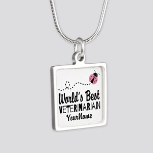 World's Best Veterinarian Silver Square Necklace