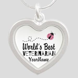 World's Best Veterinarian Silver Heart Necklace