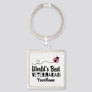 World's Best Veterinarian Square Keychain