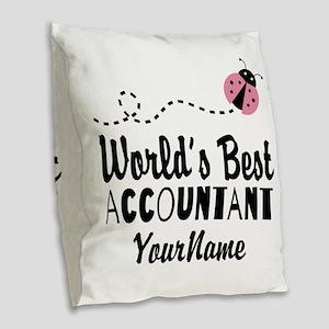 World's Best Accountant Burlap Throw Pillow