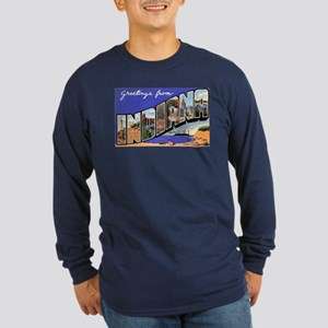 Indiana Greetings (Front) Long Sleeve Dark T-Shirt