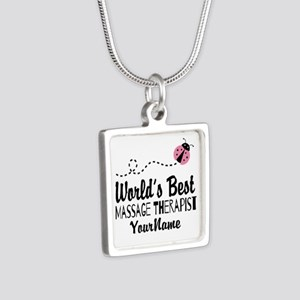 World's Best Massage Thera Silver Square Necklace
