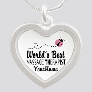 World's Best Massage Therapi Silver Heart Necklace