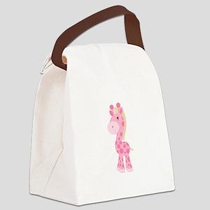 Pink Giraffe Canvas Lunch Bag