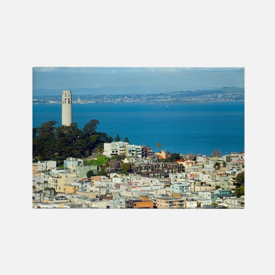 Telegraph Hill and Coit Tower Rectangle Magnet