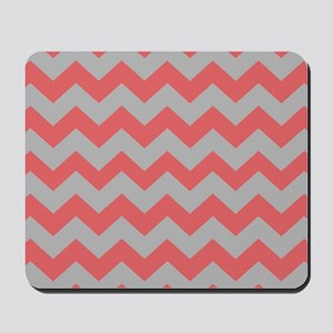 Coral And Gray Chevron Stripes Mousepad