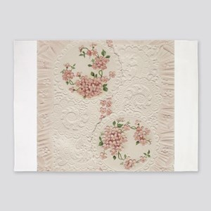 Vintage Antique Victorian Cream Floral 5'x7'Area R