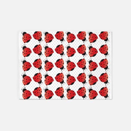Cute Ladybugs 5'x7'Area Rug