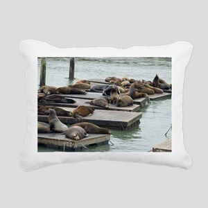 seals at fishermans whar Rectangular Canvas Pillow