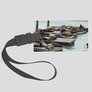 seals at fishermans wharf Large Luggage Tag