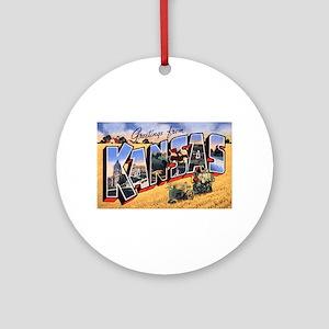 Kansas Greetings Ornament (Round)