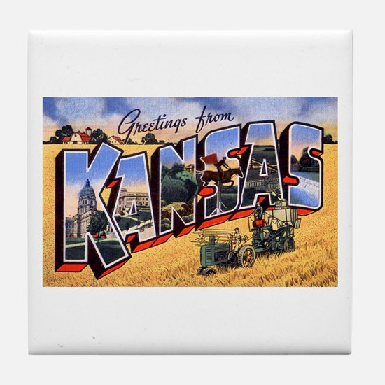 Kansas Greetings Tile Coaster