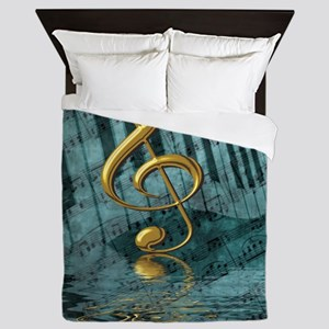 Treble Clef Composition Queen Duvet