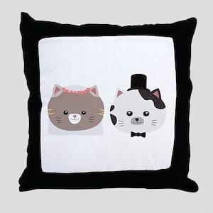 Cat Wedding Couple Cn557 Throw Pillow