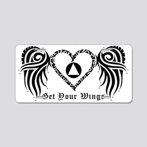 SOBRIETY HEART AND WINGS Aluminum License Plate