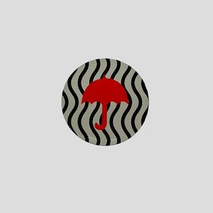 Red Umbrella Waves Mini Button
