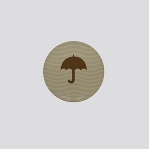 Chocolate Umbrella Waves Mini Button