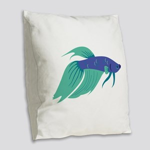 Betta Fish Burlap Throw Pillow