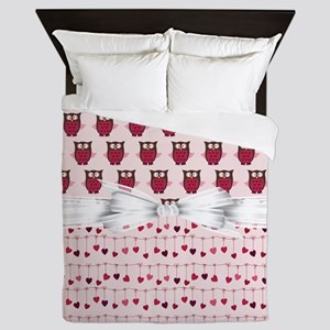 Pink Whimsical Owls Queen Duvet