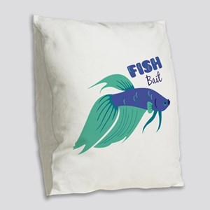 Fish Bait Burlap Throw Pillow