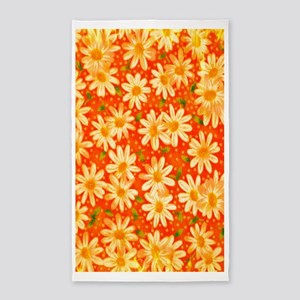 Orange Daisies 3'x5' Area Rug