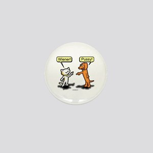Wiener Dog Pussy Cat Mini Button