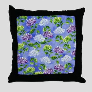 Hydrangeas Floral Blue Throw Pillow