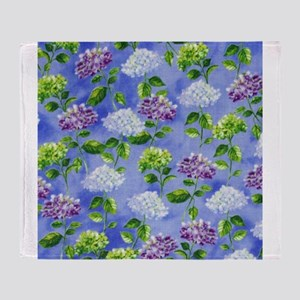 Hydrangeas Floral Blue Throw Blanket