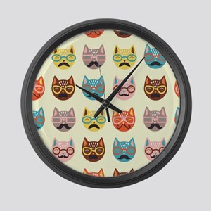 Hipster Cats Large Wall Clock