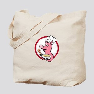 Pig Chef Cook Holding Bowl Cartoon Tote Bag