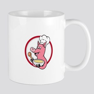 Pig Chef Cook Holding Bowl Cartoon Mugs