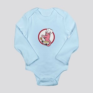 Pig Chef Cook Holding Bowl Cartoon Body Suit