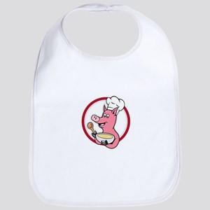 Pig Chef Cook Holding Bowl Cartoon Bib