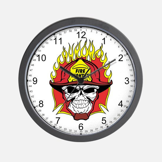 Firefighter Skull Wall Clock
