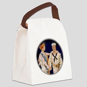 Vintage Patriotic Canvas Lunch Bag