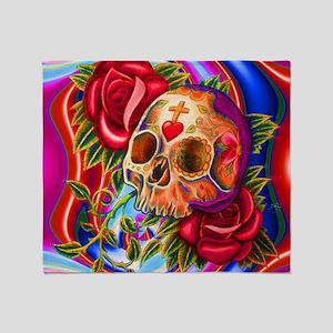 Abstract Skull Art Throw Blanket