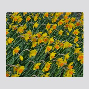 Bright yellow daffodils garden Throw Blanket