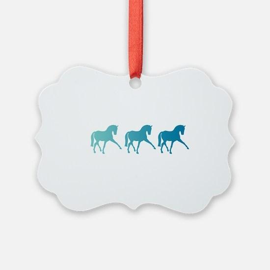Dressage Horse Sidepass Blue Ombr Ornament
