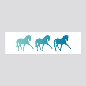 Dressage Horse Sidepass Blue Ombr 36x11 Wall Decal