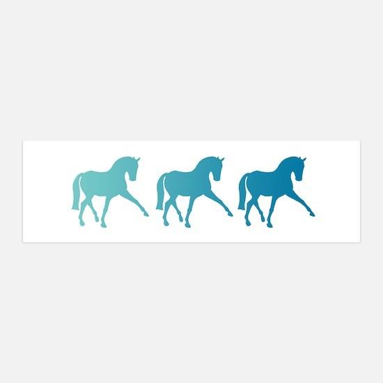 Dressage Horse Sidepass Blue Ombr Wall Decal