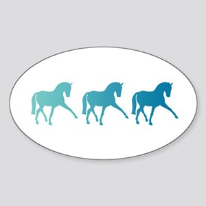 Dressage Horse Sidepass Blue Ombre Sticker (Oval)