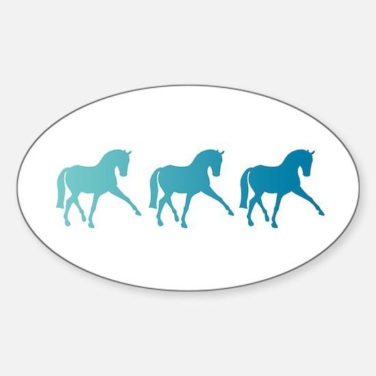 Dressage Horse Sidepass Blue Ombre Sticker (Oval)