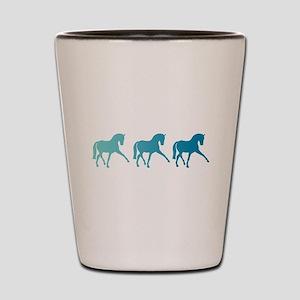 Dressage Horse Sidepass Blue Ombre Shot Glass