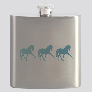 Dressage Horse Sidepass Blue Ombre Flask