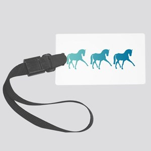 Dressage Horse Sidepass Blue Omb Large Luggage Tag