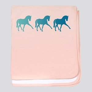 Dressage Horse Sidepass Blue Ombre baby blanket