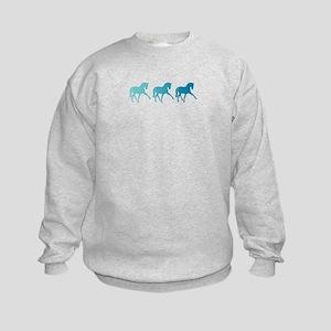 Dressage Horse Sidepass Blue Ombre Kids Sweatshirt